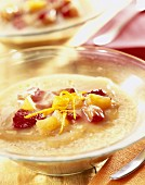 Fresh fruit jelly with coconut