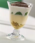 Passion fruit cream, yoghurt, mint and coffee dessert