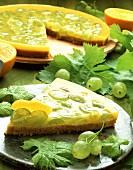 Couscous and green grape tart