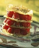Raspberry flaky pastry dessert