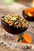 spicy bulgur with raisins, hazelnuts, coriander and parsley (topic: dried fruits)