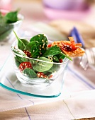 Spinach shoot and sesame seed salad