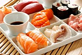 Tray of sushis, makis and sashimis