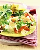 Comté cheese and raw ham salad