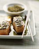 Salmon with green tea sauce