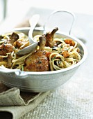 Chicken with prawns and spaghetti