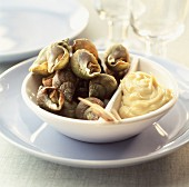 Whelks with mayonnaise sauce