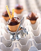 Chocolate boiled eggs for Easter