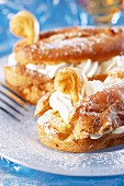 Swan cakes with whipped cream