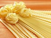 Dried spaghetti,tagliatelles and pasta