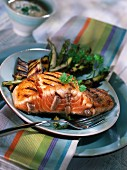 Raost salmon steak with fleur de sel sea salt