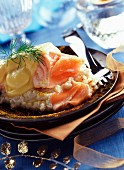 Steamed salmon in champagne sabayon (topic: salmon)