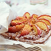 Puff pastry peach and gingerbread tart