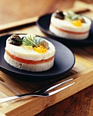 Pike mousse with smoked salmon and caviar