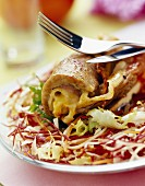Veal piccatta with cantal and ham