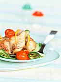 Quickly cooked rabbit with courgettes