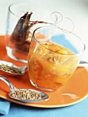 Mediterranean prawns with apricot chutney