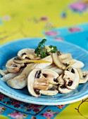 Grilled sole with mushrooms