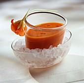 Chilled tomato and nasturtium soup