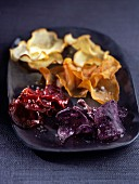 Beetroot, sweet potato and purple potato crisps