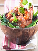 Grilled prawns with herbs and sugar peas (topic : fishes)