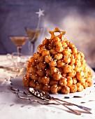 Caramelized chou bun Christmas pyramid dessert