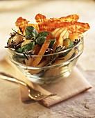 Potato, tomato, courgette and bacon salad