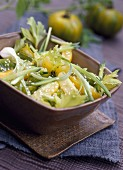Green tomato, celery and sesame seed salad