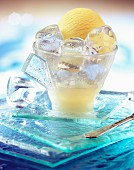 Dish of lemon ice cream and ice cubes