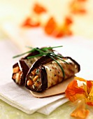 Aubergine and vegetable wraps