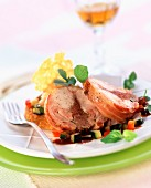 Saddle of stuffed rabbit with parmesan biscuit