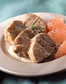 Sauté of veal with pink grapefruit