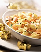 Tagliatelle with salmon and salmon roe