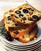 Slices of olive and chorizo loaf