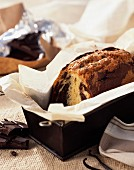 Marbled chocolate and almond loaf cake