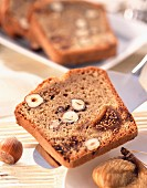 Slices of fig, nut and coffee cake