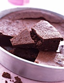 Moist chocolate cake in pan