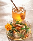 Chicken breast and rocket lettuce salad with honey vinaigar