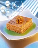 Walnut cake dessert with Kiwi purée