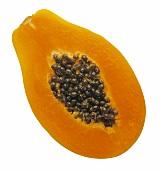 Sliced papaya with seeds
