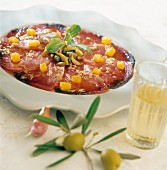 Tuna and olive Carpaccio