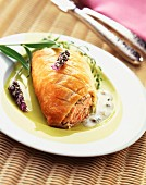 stuffed with salmon in roquefort sauce