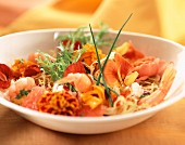 Shrimp and pansy salad