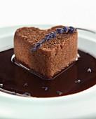 heart-shaped chocolate hazelnut cake