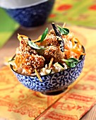 Chicken brochettes with sesame seeds and vanilla