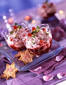 Fromage frais with summer fruit, redcurrant puree and star-shaped biscuits