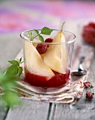 Pears with raspberry coulis