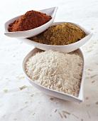 Basmati rice, curry and chilli powder