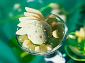 glass of apple sorbet with fruit