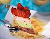 Strawberry, pistachio and chocolate ice cream charlotte